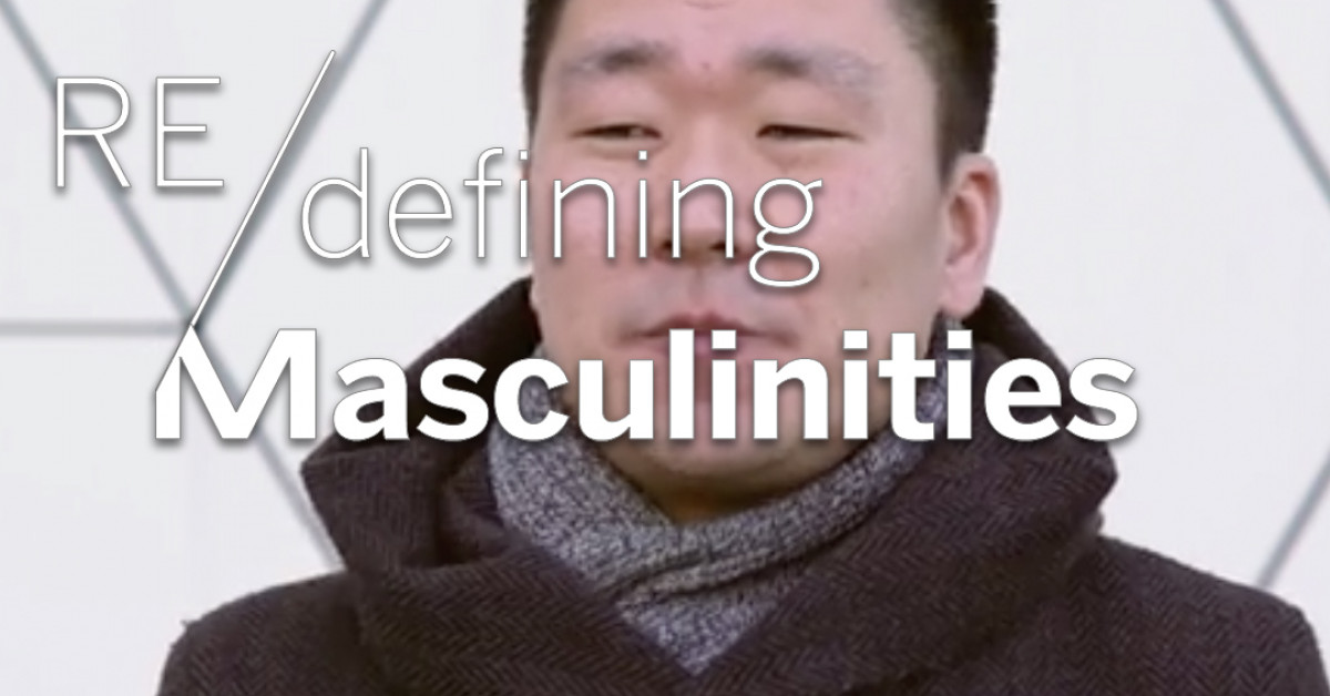 "Screenshot with the title Redefining Masculinities, and in the background Kevin Groen. The image is captioned ""So as kid I was always encouraged by my parents to express my feelings and thoughts""."