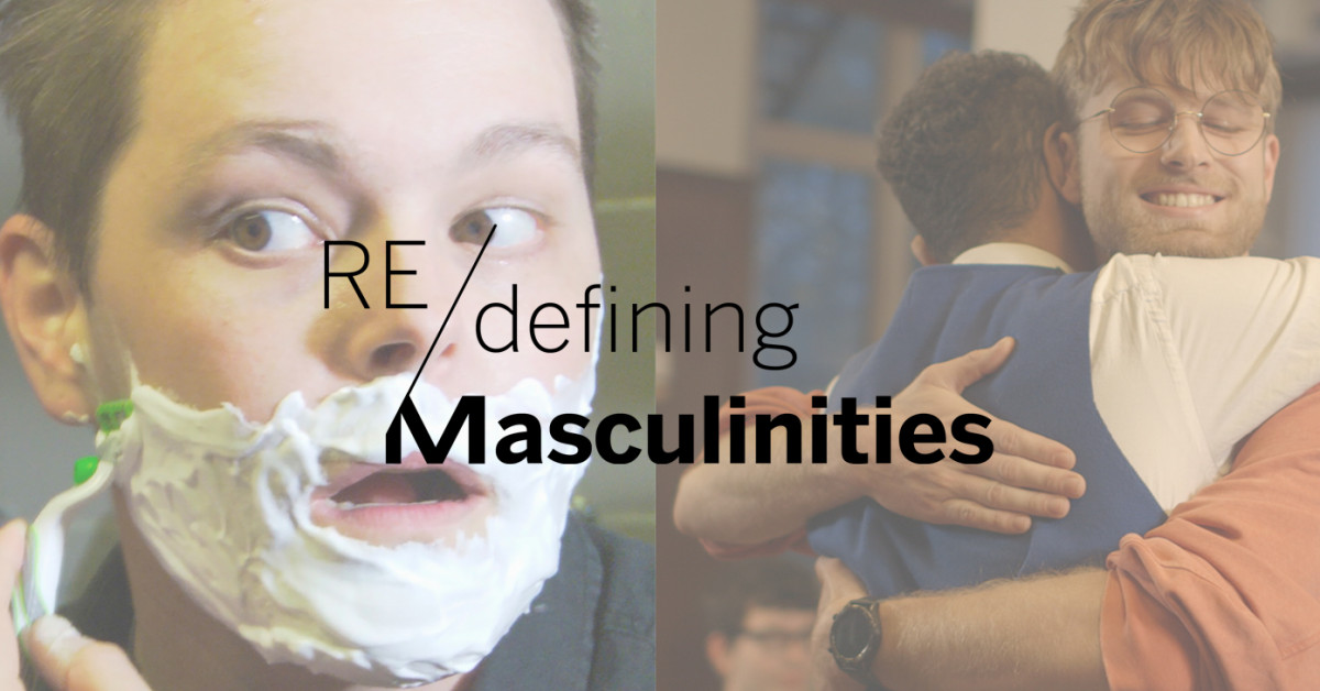Logo banner for Redefining Masculinities with a photograph of James MacDonald shaving and a photograph showing two men hugging.